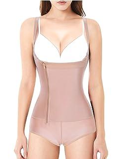 0d281dae2b7 Nebility Women Latex Waist Trainer Bodysuit Slim Full Body Zipper Shapewear  Tummy Control Corset
