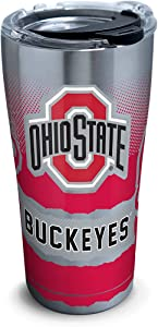 Tervis 1266050 Ohio State Buckeyes Knockout Stainless Steel Tumbler with Clear and Black Hammer Lid 20oz, Silver