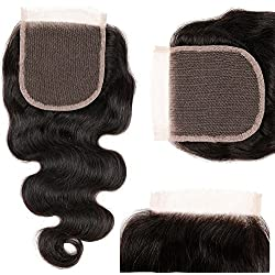 "Mirra's Mirror 4""x4"" 10"" Free Part Body Wave Lace Closure 100% Unprocessed Brazilian Virgin Human Hair Extensions Natural Color (10"" Free Part Closure)"