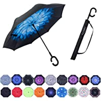 Umbrella,Large Double Layer Inverted Big C-Shaped Handle Reverse Long Umbrellas