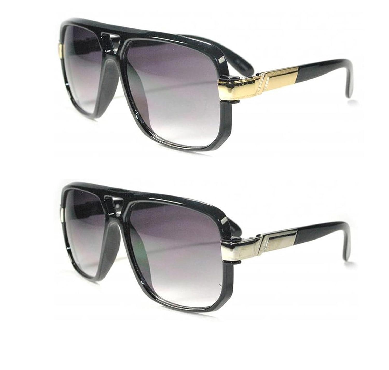 2 Pairs Carrera Style Fashionista Glasses Translucent Design Sunglasses (Black Silver & Black Gold)