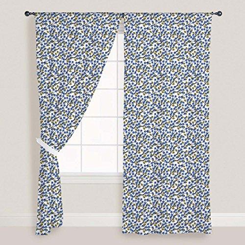 ArtzFolio Blueberries Around Door & Window Curtain Canvas 4feet x 5feet; SET OF 3 (4 Panel Natural Finish Framed)