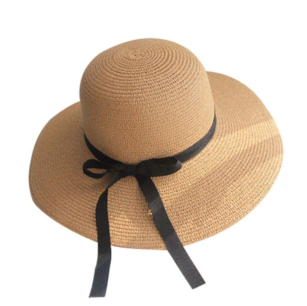 VANKER 1Pc Charming Women Wide Brim Beach Seaside Bowknot Straw Weave Sun Hat