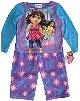 Nickelodeon Little Girls Purple Dora The Explorer Print 2 Pc Pajama Set 2T-4T