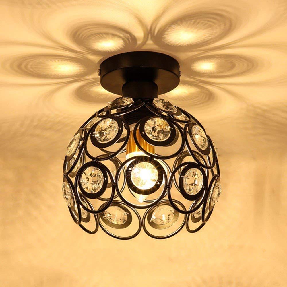 FuweiEncore Restaurant Moderne Minimalistische Kristall Kronleuchter Schlafzimmer Wohnzimmer Deckenleuchte 20 cm Schwarz Einzel Armig Warm LED