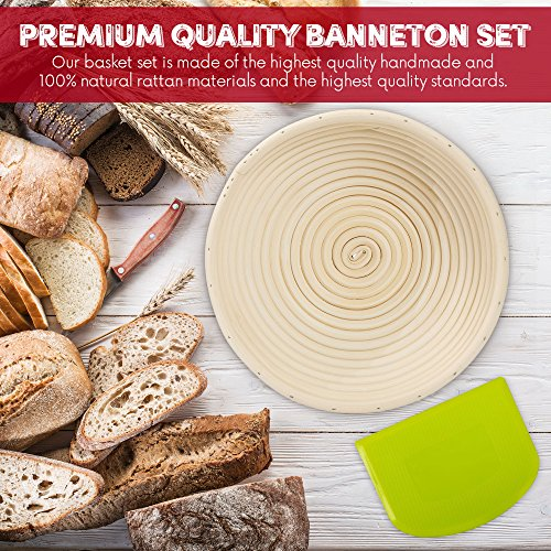 HipKopp 8.5 inch Banneton Bread Proofing Basket Set - eco-friendly Material Rattan Shape Loaf Bowl -Sourdough Kitchen Silicone Scraper Cloth Liner kit - 4 Customised Stencils for Professional Baking by HipKopp (Image #4)
