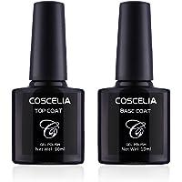 Coscelia Topcoat Basecoat Set Base Top Coat Primer Soak Off Gel Nail Polish Nail Art Manicure Kit