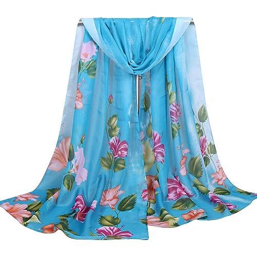 Ularma Bufanda de moda de la mujer la gasa largo suave con la impresión floral