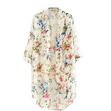 newest collection official store great deals 2017 ROPALIA Femmes Floral Cardigan Haut en Mousseline de Soie Veste Kimono  Blouse Manteau 3/4 Manches