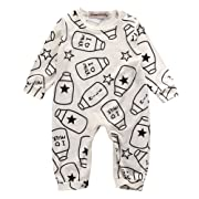 Emmababy Baby Boys Girls Jumpsuit Hoodie Romper Outfit Long Sleeve Creepers Bodysuit Clothes (0-6Months, Beige)