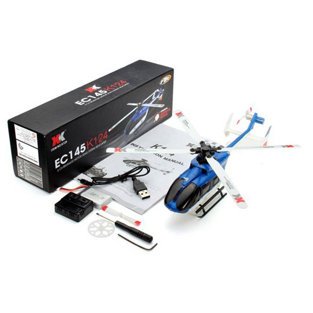 DSstyles XK K124 RC Drohne BNF ohne Sender 6CH Brushless Motor 3D Hubschraubersystem kompatibel mit FUTABA S-FHSS Bnf