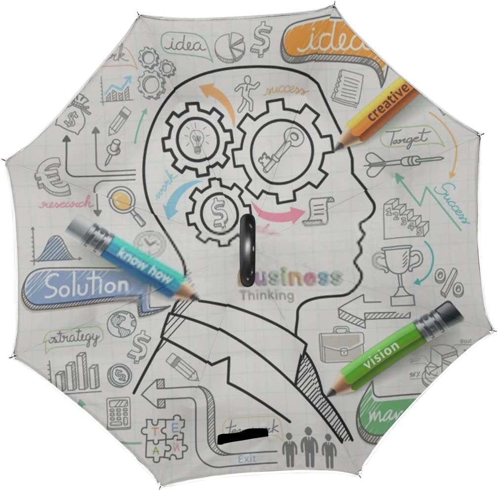 Double Layer Inverted Inverted Umbrella Is Light And Sturdy Businessman Thinking Concept Doodles Icons Set Reverse Umbrella And Windproof Umbrella Ed