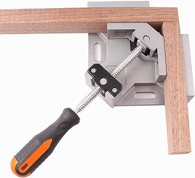 Schwei/ßen Einzelgriff Bohren Holzbearbeitung 90 Grad Winkelklemmen Fotorahmen Winkelklemmen zwei Achsen Schwei/ßklemme mit verstellbarer Schwingbacke f/ür Tischler