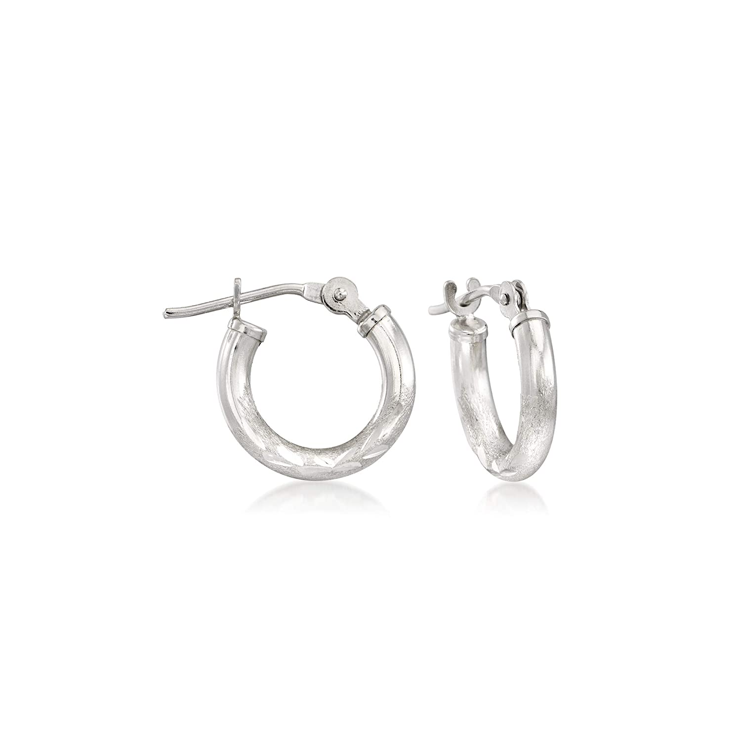 Ross-Simons Childs 14kt White Gold Diamond-Cut Huggie Hoop Earrings
