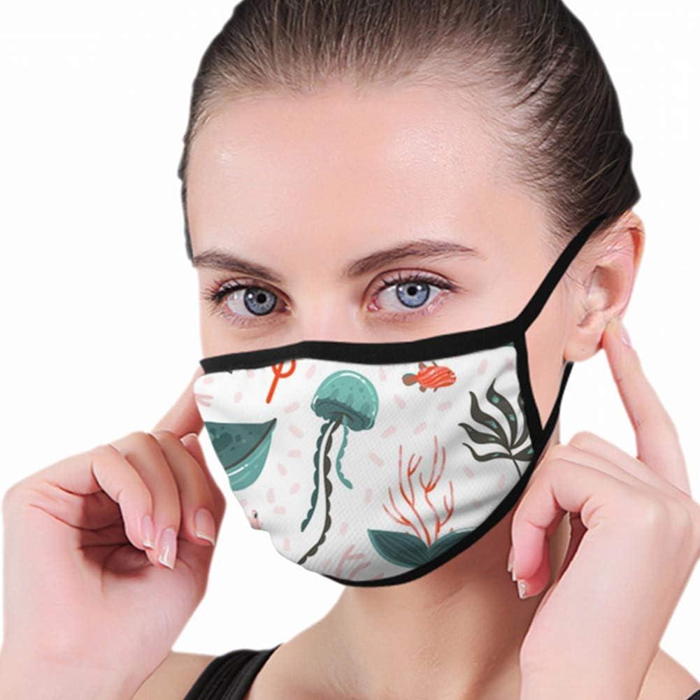Cubierta para boca, dibujada a mano, dibujo abstracto de dibujos animados gráficos de ballena, cubiertas decorativas para la boca para protección contra el polvo y el humo