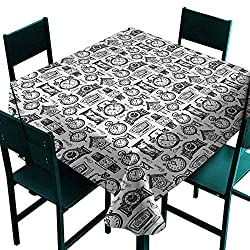 Vintage Washable Table Cloth Hand Drawn Sketch Style Monochrome Digital Wrist Analog Watches Bird Wall Clocks Great for Buffet Table W54 x L54 Black White