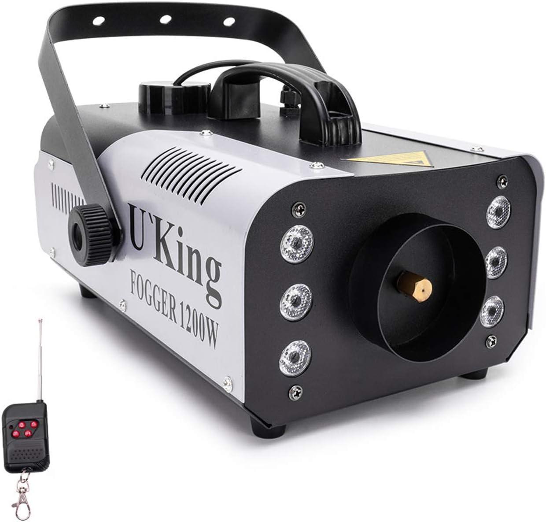 1200W Máquina de Humo con Luces Controlables,UKing RGB Maquina Niebla con Control Remoto y Tanque de 1L para Bodas, Fiestas, Teatro, Discoteca