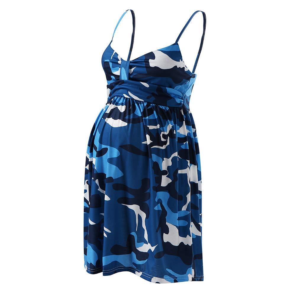Winsummer Maternity Dress Women's Sleeveless Knee Length Pregnant Breastfeeding Nursing Dress Blue