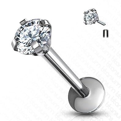 16Ga Steel CZ Crystal Bar Monroe Labret Lip Ear Tragus Helix Ring Jewlery Hot