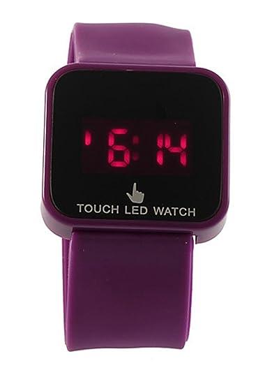 36e5d8a31cf2 Reloj de mujer - SODIAL(R)Colorido unisexo LED Digital pantalla tactil Reloj  de pulsera de silicona Purpura  Amazon.es  Relojes