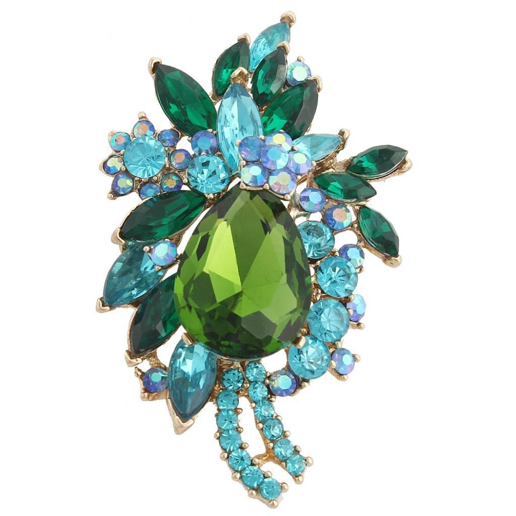 EVER FAITH Women's Crystal Vintage Style Flower Teardrop Brooch Pendant Green w/ Blue Gold-Tone