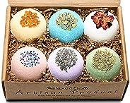 Handmade Organic Bath Bombs Gift Set For Women All Natural with Epsom Salt Relaxation Dead Sea Salt - Natural