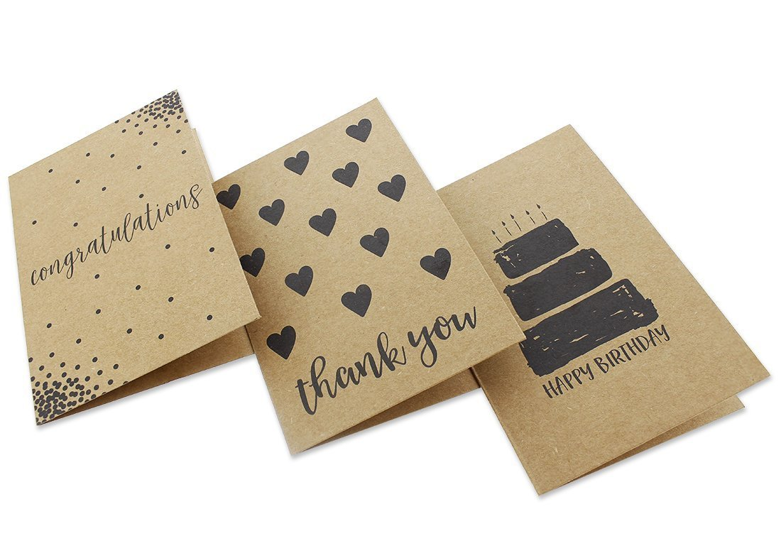 36 Pack Assorted All Occasion Kraft Greeting Cards - Includes Assorted Happy Birthday, Congratulations, Sympathy, Thank You Cards - Bulk Box Set Variety Pack with Envelopes Included - 4 x 6 inches by Best Paper Greetings (Image #9)