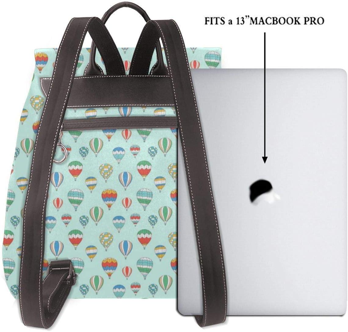 Women PU Leather Fashion Backpack Purse Blue Hot Air Balloon Travel School Shoulder Bag Girls Ladies Daypack Handbags