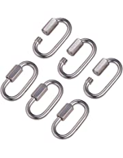 "INCREWAY 6 Pcs M5/0.2"" 304 Stainless Steel D Shape Locking Carabiner Quick Link Chain Connector Keychain Buckle"