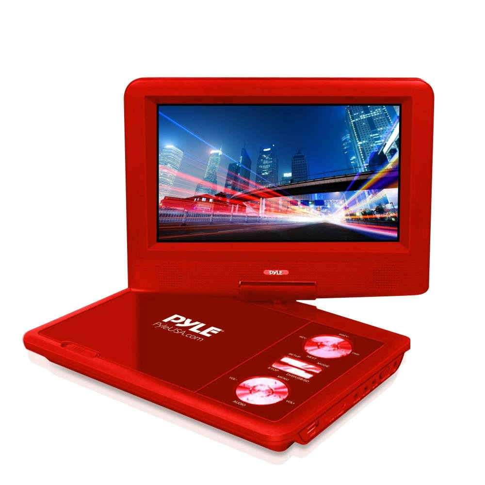 Upgraded Pyle 7'' Portable DVD Player, Travel, Built-in Rechargeable Battery, USB/SD Card Memory Readers, Headphone Jack, Includes Wireless Remote Control, Car Charger, Travel Bag, Red (PDV71RD)
