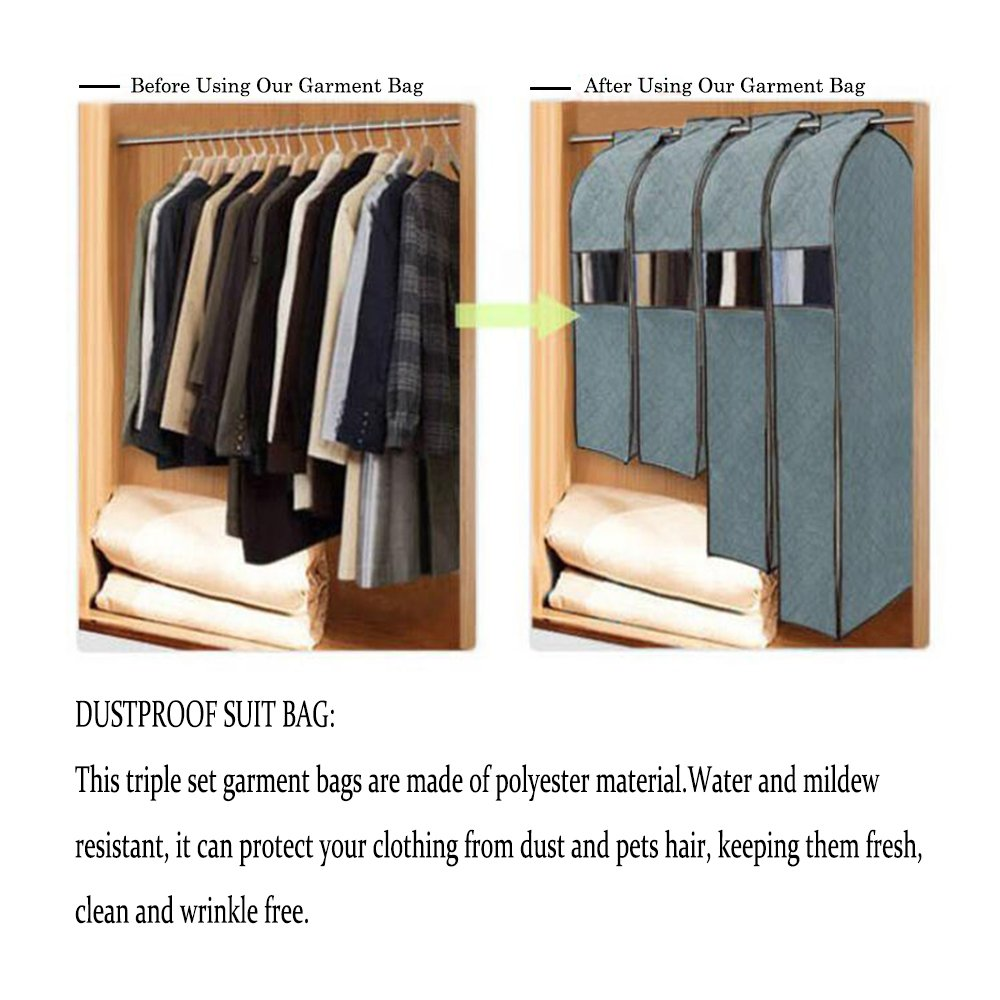 Amazon.com: Didadi Moisture, Mildew, Dust Resistant Cloth Care Hanging Bag.  Transparent Garment Clothing Organizer In Wardrobe. Storage Dust Protector  Cover ...