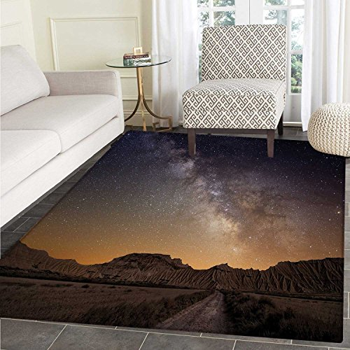 Night Print Area rug Milky Way over Desert of Bardenas Spain Ethereal View Hills Arid Country Perfect for any Room, Floor Carpet 4'x6' Plum Apricot Chocolate by Carl Morris