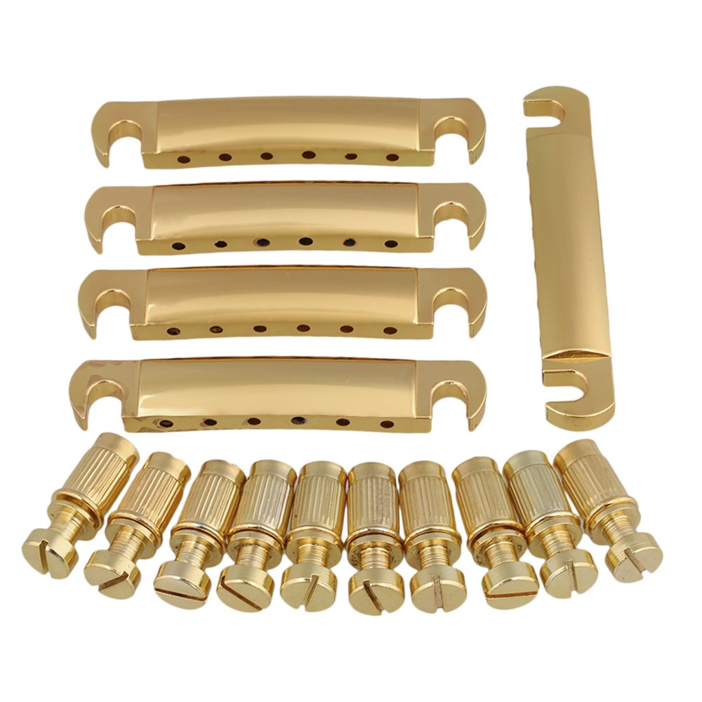 Yibuy Golden Tune O Matic Bridge Tailpiece Stud for Guitar Replacement Parts Set of 5