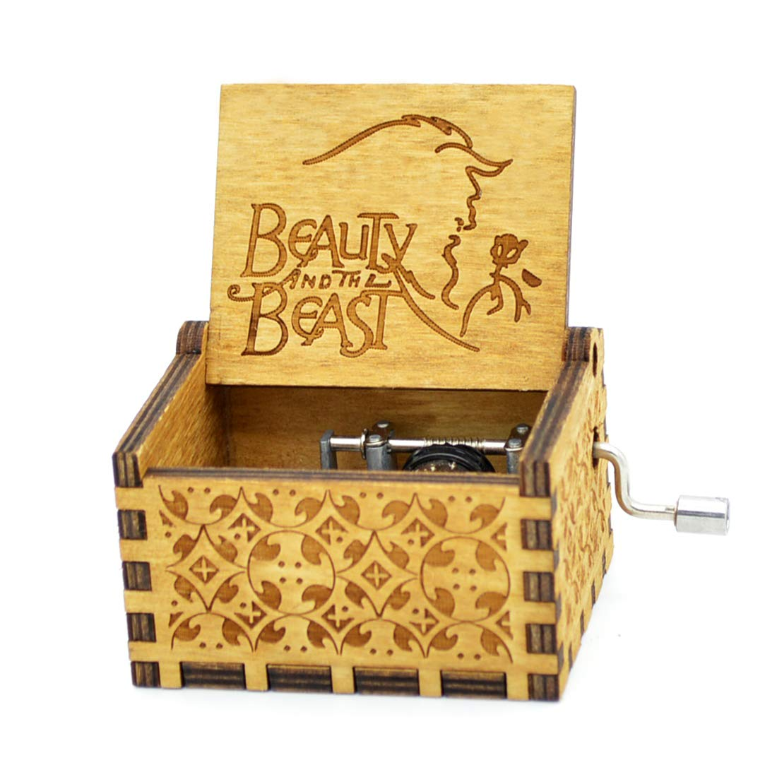 Y& S Wooden Hand Crank Beauty and the Beast Theme Music Box 18 Note Mechanism Antique Carved Hand Crank Musical Box For kid Birthday Gift (Beauty and the beast) SY