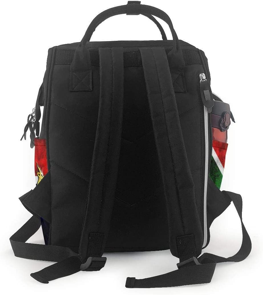 GXGZ South Africa Flag African Emblem Springbok Diaper Bag Backpack Waterproof Multi-Function Baby Changing Bags Maternity Nappy Bags Durable Large Capacity for Mom Dad Travel Baby Care