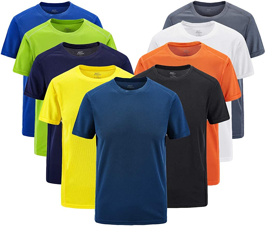 Asibeiul Mens Sport Fast-Dry Breathable Outdoor T-Shirt Quick Drying Casual Tops Blouse Plus Size Solid Color O-Neck Summer