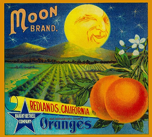 Redlands Moon Orange Citrus Fruit Crate Box Label Art Print