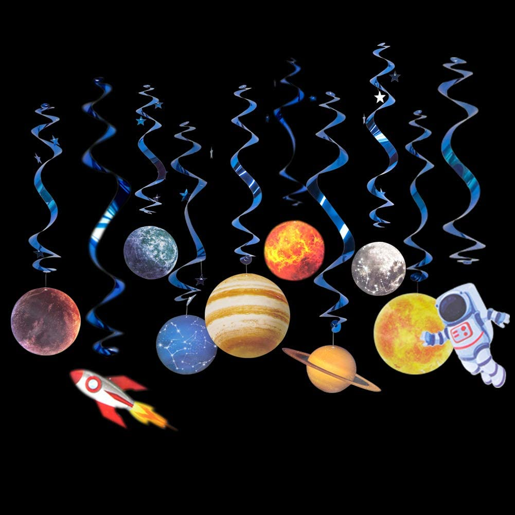 12 Pieces Easy Joy Solar System Birthday Party Supplies Outer Space Party Planet Hanging Swirl Decorations with Cake Toppers Set
