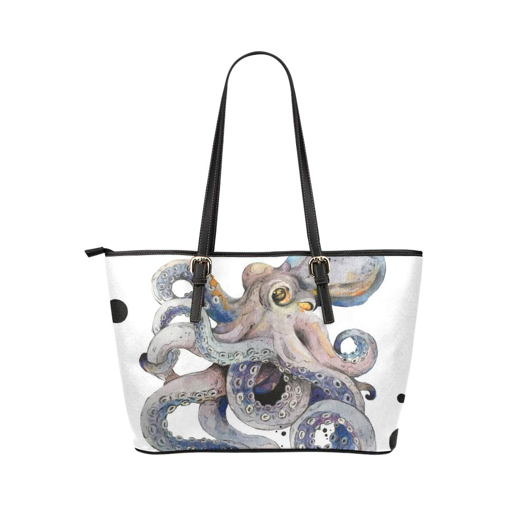 Octopus Sea Devilfish Water Color Large Soft Leather Portable Top Handle Hand Totes Bags Causal Handbags With Zipper Shoulder Shopping Purse Luggage Organizer For Lady Girls Womens Work