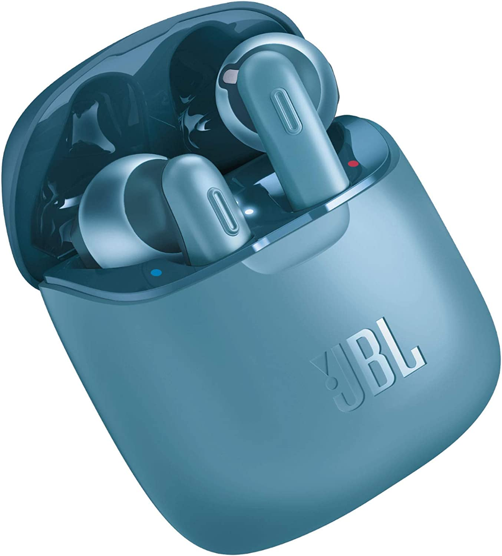 JBL Tune 220 - Auriculares inalámbricos con Bluetooth y JBL Pure Bass Sound, 20 h de música continua y estuche de carga inteligente, azul