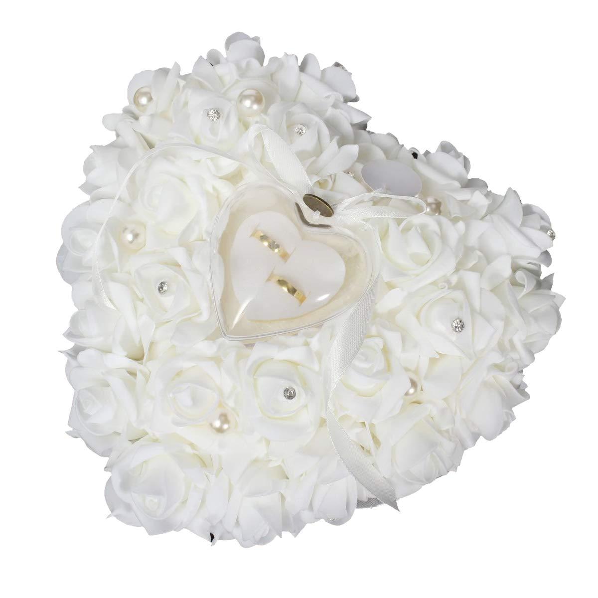 Amazon.com: Anillos de boda, almohada caja corazón ...