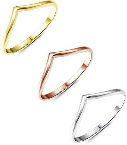 Finrezio 3Pcs Chevron Ring for Women Stainless Steel Rose Gold Silver Gold Plated V Rings (Size 4-10)