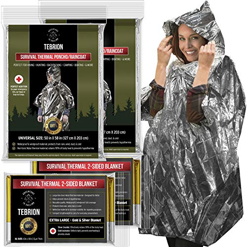 "TEBRION 2 x Survival Raincoat and 2 x Extra Large 63""x82"" Mylar Blankets Set"