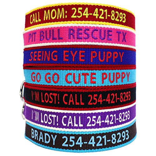 Go Go Cute Puppy ECO Friendly Bamboo Personalized Embroidered Dog Collar - Custom Text with Pet Name and Phone Number - Multiple Collar and Thread Colors and Sizes ()