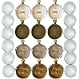 N'joy 12 Sets 30MM Circle Pendant Tray with Dome Shape Clear Glass Tiles for Photo Charm or ...