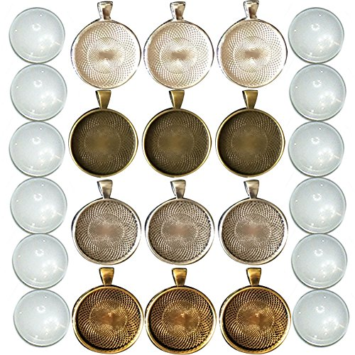 (12 Sets Cabochon Pendant Tray Bezel with Round Circle Clear Glass Dome Tiles for Photo Charm, 1 3/16 Inch (30mm), Assorted Colors )