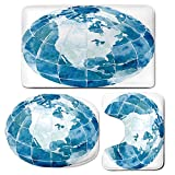 3 Piece Bath Mat Rug Set,Map,Bathroom Non-Slip Floor Mat,Hand-Drawn-Watercolor-Style-Globe-Sphere-with-North-America-Continent-Paint-Effect,Pedestal Rug + Lid Toilet Cover + Bath Mat,Blue-White