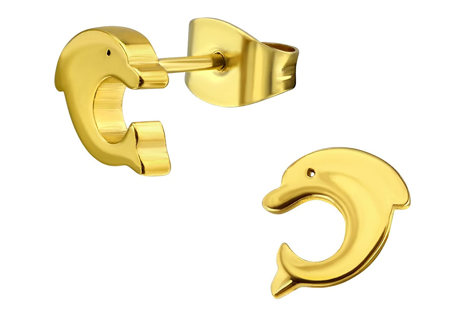 14k Yellow Gold Plated Surgical Steel Dolphin Stud Earrings for Little Girls (Nickel Free) Penny & Piper 601982262853
