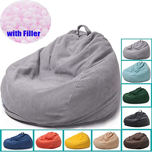 Ultra Soft Bean Bag Chair, Stuffed Beanbag Seat Chair with Removable Microsuede Cover Particle Filling Memory Foam Lazy Sofa Furniture Bean Bag for Kids Teens Adults