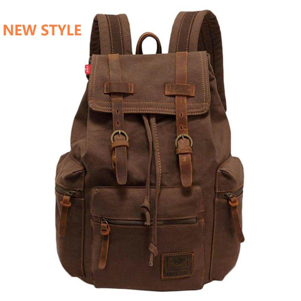 b961a3f387b9 Amazon.com : SMEAMUS Vintage Canvas Backpack for Men Faux Leather ...